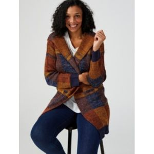 Sweaters - Hooded Cardigan Sweater Plaid 1X